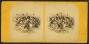 [Group portrait of 7 women, each holding needlework or flowers.]