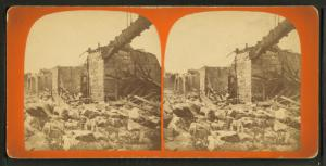[View of a bridge after it collapsed.]