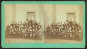 [View of unidentified students and teachers.]