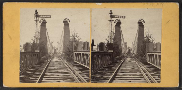 Suspension Bridge [Niagara Falls, railroad tracks].