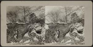 [View of snow covered rocks and bridge.]