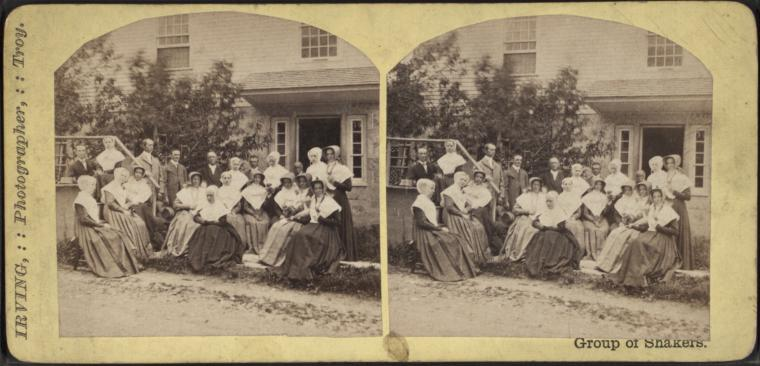 Stereoview of a Group of Shakers at the North Family, Mount Lebanon Shaker Village
