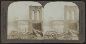 Brooklyn Bridge - the world's greatest suspension bridge, (total length 5987 ft.), New York City.