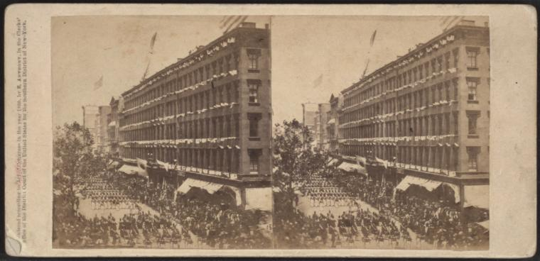 The Seventh Regiment arrive in front of the Metropolitan to escort the Embassy to the City Hall, June 18, 1860.