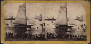 Scene on the Bay previous to the Regatta, Jul 4th, 1860.