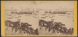 Animated scene. The shore crowded with spectators, and the water crowded with boats and sailing vessels, July 4th, 1860.