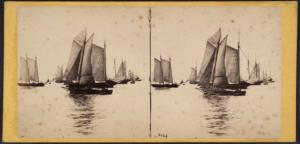 Fleet of vessels - New York Bay scene.
