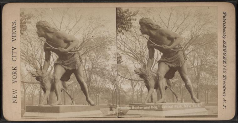 """Indian Hunter and Dog,"" Central Park, New York."