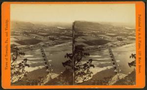 [Aerial view of Towanda, Pa. and railroad bridge.]