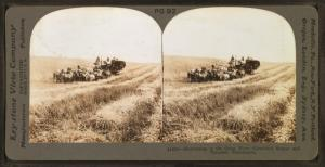 Harvesting in the great West, combined reaper and thresher,  Washington, U.S.A.