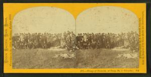 Group of excursionists at Camp No. 1, Columbus Nebraska.
