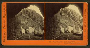 From Tunnel no. 10, looking west. Building wall across the ravine.