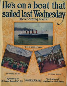 He's on a boat that sailed last Wednesday : (he's coming home) / words and music by Joe Goodwin & Lew Brown.