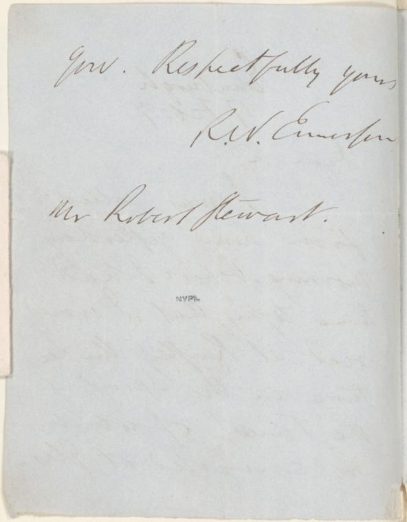 [Page 2 of letter] -gow. Respectfully yours, Rev. Emerson. Mr. Robert Stewart
