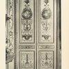 Porte à deux vanteaux décorés de médaillons, de personnages, de cartouches, de lambrequins et d'arabesques peints et dorés se détachant sur champ vert. Ecole française, époque de Louis XVI [Plate 521]
