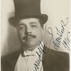 Autographed full-face portrait photo of Serge Diaghilev in top hat.