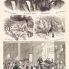 Top: Ralph Waldo Emerson, A. Brandon Alcott, Louise Alcott, John G. Whitter. Middle left: The summer school. Middle right: The home of May Alcott. Bottom: Massachutes- Second term of the School of Philosophy in the Chapel of the Orchard…