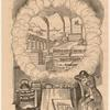 James Watt in a reverie, with steam from boiling tea pot enclosing a Victorian industrial landscape and a drawing of the Watt steam engine