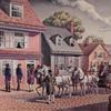 Gen. Washington arriving at home of mistress Betsy Ross, Philadelphia