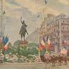 Color postcard feturing Edward Clark Potter's General Washington equestrian statue in Paris, France, July 4, 1918.