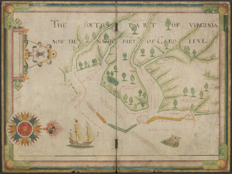 The south part of Virginia, now the north part of Carolina / Nicholas C[o]mberford fe[c]itt anno 1657.