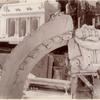 [Plaster models : the Fifth Avenue facade, a section of an arch decorated with oak leaves, a volute and a console.]