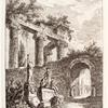 [Statues, columns, and an archway with a person entering.]