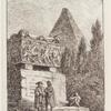 [Two figures standing in front of a monument; a figure with head in his lap sitting on the steps; a pyramid in the background.]