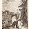 [Man with tall spear or stick standing on a slab of rock, two figures leaning against the rock; arched structure in the background.]]