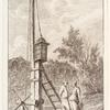 [Two figures standing next to a wooden machine designed to hoist a lamp to the top of a pillar.]