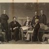 First reading of the Emancipation Proclamation before the cabinet. From the original picture painted at the White House in 1864. [Subjects from R to L:] Edwin M. Stanton. Salmon P. Chase. President Lincoln. Gideon Welles. Caleb Smith. William H. Seward. Montgomery Blair. Edward Bates.