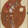 Artists' palette with various colors, each labeled with a letter.]
