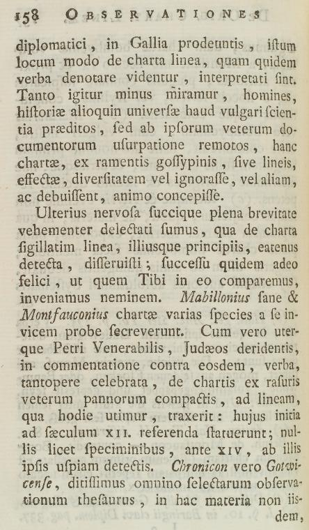 This is What Gerard Meerman and Second page of text numbered 158 Looked Like  in 1767