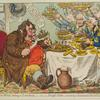 John Bull taking a Luncheon; or British Cooks cramming Old Grumble -Gizzard with Bonne-Chére.