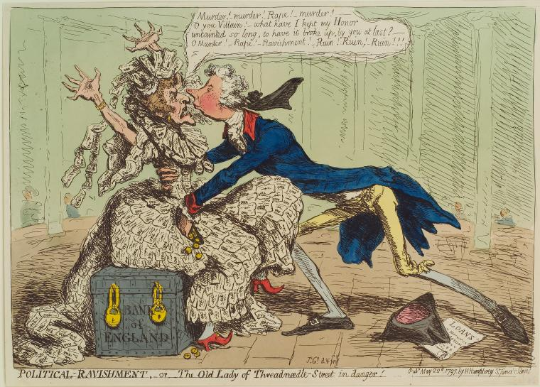 This is What James Gillray and Political Ravishment; or The Old Lady of Threadneedle Street in danger! Looked Like  in 1779
