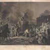 """Pulling down the Statue of George III by the """"Sons of Freedom"""" at the Bowling Green, City of New York July 1776"""