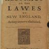 An Abstract or the Lawes of New England, As they are novv established [title page].