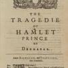 The Tragedy Of Hamlet Prince Of Denmarke.  Newly Imprinted and inlarged, according to the true and perfect Copy lastly Printed.