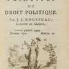 Du contract social, ou, Principes du droit politique [title page].