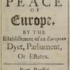 An essay towards the present and future peace of Europe, title page