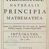 Philosophiae naturalis principia mathematica [title page].