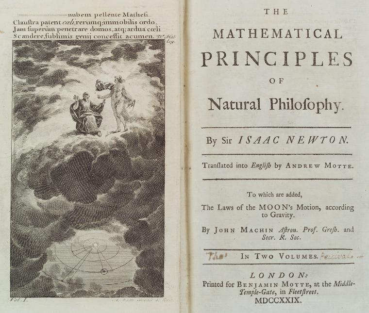 The mathematical principles of natural philosophy [title page and frontispiece]