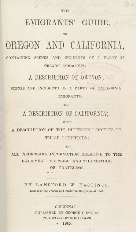 The emigrants' guide to Oregon and California [title page]