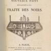 Nouveaux faits relatifs à la traite des Noirs, title page