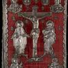 Front cover: red velvet with silver repoussé of Jesus on the cross with the Virgin Mary at left and St. John at right and busts of the four Evangelists in each corner.]