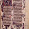 "Opening of main text -- prologue to psalms.  Historiated initial, border work, biblical scenes at the foot of each column, etc.  Signature ""Ancram"" that of Marquess of Lothian (and Earl of Ancram) the 18th century owner."