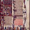 Large initial B, showing scenes from 1 Samuel 16: 1-5.  Illuminated title, elaborate border design, initials, rubric, placemarkers.