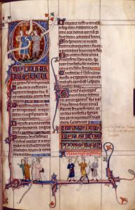 Large initial Q of Psalm 51, showing scenes from 2 Samuel 1.  Scrolls are missing their text.  Illuminated titles, initials, linefillers, rubric, miniatures at bottom of page (with text in scrolls).