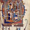 Full-page initial D of Psalm 52, showing scenes from 2 Samuel 2.  Illuminated title, coat of arms, miniatures at bottoms of columns.