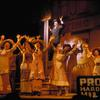 The Robert Preston (in background) and cast in the stage production The Music Man.